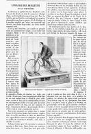 """L'ESSAYAGE  DES BICYCLETTES  Sur Un  """" HOME-TRAINER  """"  1895 - Transports"""