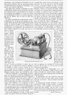 LE PHONOGRAPHE PORTATIF Systeme EDISON   1895 - Musique & Instruments
