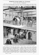 """DISTRIBUTION DE FORCE MOTRICE Par L'ELECTRICITE  Dans LES USINES  """" LINET """"  à AUBERVILLIERS    1895 - Ile-de-France"""