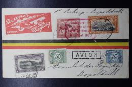 Belgium Congo First Flifgt  Cover  Libenge -> Leopoldville 1930 Special Carmine Cachet Inauguration De La Lingne  RRR - Congo - Brazzaville