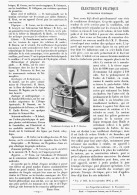 """ELECTRICITE PRATIQUE   """"  VENTILATEUR ELECTRIQUE """"  1895 - Sciences & Technique"""