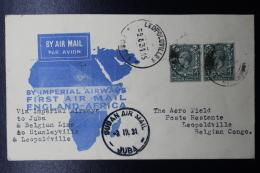 UK:  Cover By Imperial Airways 1931 To Khartoum, Aba, Leopoldville In Belgium Congo - 1902-1951 (Rois)