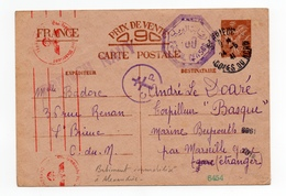 !!! ENTIER POSTAL IRIS DE 1941 POUR LE TORPILLEUR BASQUE, BATIMENT IMMOBILISE A ALEXANDRIE - Marcophilie (Lettres)