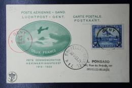 Belgium: Poste Aerienne Exposition De Gand, 1913, 20 Years Commemoration Flight 1933 Signed/ Signé/signiert - Luchtpost