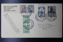 Belgium: Airmail Cover 1925 Brussels -> Paris, OBP 136/137/183/164/220 Cancel In Box PAR AVION PER VLIEGTUIG - Luchtpost