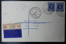 Belgium: Registered Airmail Cover  First Night Flight Leuven  Brussels - London - Luchtpost