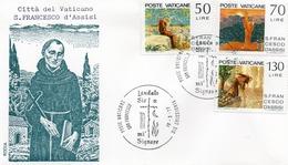 CITTA DEL VATICANO-BUSTA FILATELICA PRIMO GIORNO--S. FRANCESCO D ASSISI 1977-FDS - FDC