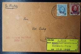 Belgium:  Airmail Cover First Flight Oostende ->  Köln 15-5-1928 Yellow Label Is Attached At Only One Small Point - Posta Aerea