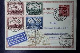 Belgium Zeppelin Card Brussels To Recife Brasil Zuleitungspost Zieger 150 1932 OPB PA1 +2+4 292 - Luchtpost