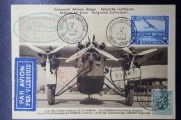 Belgium Card Antwerp -> Berlin Green First Flight Cachet 16-5-1932 Sabena Airplane - Luchtpost