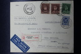 Belgium  Registered Airmail Cover Brussels - Nova Chupanga Portugeze West Africa, 1933 Imperial Airways, Label At Back - Airmail