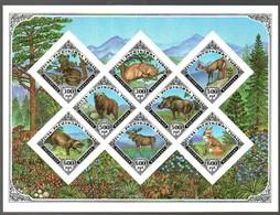 Animals Bear, Lynx Deer, Fox IMPERFORATED Block MNH (tt1) - Tuva