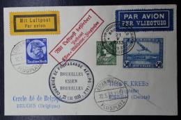 Belgium Airmail Cover Brussels - Essen - Bruges Aeophilatelic Exhibition 21-5-1933 Rapid Round Flight Label At Back - Luchtpost