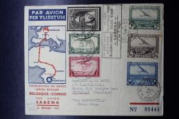 Belgium Airmail First Flight Cover Brussels  Leopoldville 23-2-1935 Sabena (both Ways) - Luchtpost