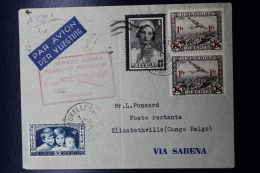 Belgium Airmail Cover  Brussels ->Elisabethville First Flight Europe,Congo,Madagascar,backstamp Date Error 14-11-1635 - Luchtpost