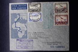 Belgium Airmail Cover Brussels ->Elisabethville ->Brussels First Direct Flight  (not Via Leopoldville) 23-11-1935  - Luchtpost