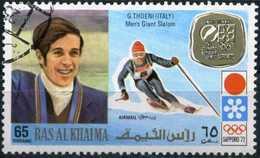 RAS AL-KHAIMA 1972 - Mi. 733 O, Giant Slalom, Gustav Thoeni (Italy) | Airmail | Winter Olympics Sapporo, Gold Medalists. - Ras Al-Khaima