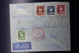 Belgium Airmail Cover  Gent -> Santiago De Chili German Airmail Service 7-4-1935  OBP 321 - 324 4 Color Franking - Luchtpost