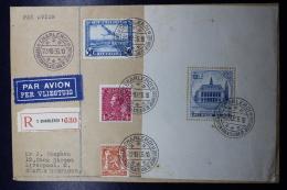 Belgium Registered Airmail Cover Charleroi -> Liverpool UK Block 6    23-10-1936 - Luchtpost