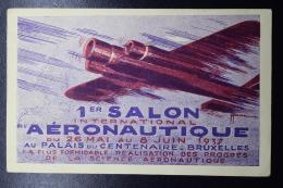 Belgium Airmail Card Brussels - Paris Brussels First Aeronautical Salon, 31-5-1937 Mixed Stamps - Luchtpost