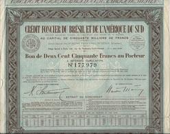 CREDIT FONCIER DU BRESIL ET DE L'AMERIQUE DU SUD -  BON DE 250 FRANCS -1935 - Banque & Assurance