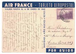 ARGENTINE CP AIR FRANCE - TARJETA AEROPOSTAL 1939 - BUENOS AIRES Pr SECTEUR POSTAL 307 (MILITAIRE) - Poste Aérienne