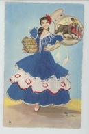 FEMMES - FRAU - LADY - CORRIDA - TAUROMACHIE  - Jolie Carte Fantaisie Brodée Femme Espagnole - Borduurwerk