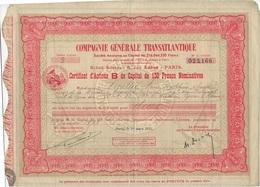 COMPAGNIE GENERALE TRANSATLANTIQUE-CERTIFICAT D'ACTIONS B DE CAPITALDE 150 FRS- ANNEE 1934 - Scheepsverkeer