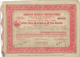 COMPAGNIE GENERALE TRANSATLANTIQUE-CERTIFICAT D'ACTIONS B DE CAPITALDE 150 FRS- ANNEE 1934 - Navy