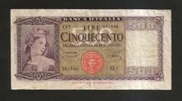 REPUBBLICA ITALIANA - 500 Lire ITALIA - (Decr. 20/3/1947 - Firme: Einaudi / Urbini) - ITALIA / NON Comune - [ 2] 1946-… : Républic