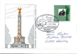 "(FC-6) BRD Sonder-Karte ""Berlin Siegessäule"" EF Mi 1795 Aus Block 31 SST 9.11.1999 MARIENBORN""10.Jahrestag ..."" - Covers & Documents"