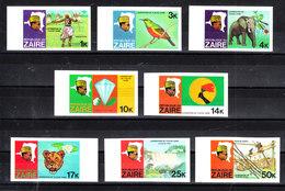 Zaire -1978. Colibri, Elefante, Diamante, Leone, Cascata. Colibri, Elephant, Diamond, Lion, Waterfall. Very Rare Imperf. - Minerali