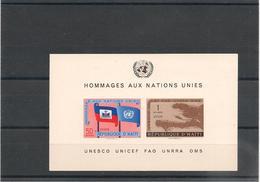 HAITI Année 1958 Hommage Aux Nations Unies Bloc  N°Y/T : 10** - Haïti