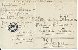 Kriegsgefangenensendung Van Soltau Naar Namen Met Kampcensuur - Guerre 14-18