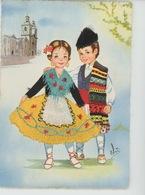 ENFANTS - LITTLE GIRL - MAEDCHEN - Jolie Carte Fantaisie Brodée Enfants Espagnols MURCIA - Embroidered