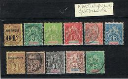 MARTINIQUE ET GUADELOUPE-TIMBRES ANCIENS- - Guadeloupe (1884-1947)