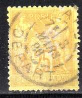 """N° 92a (Sage) Oblitéré """"PARIS-DEPART"""" TB: COTE= 13 € - 1876-1898 Sage (Type II)"""