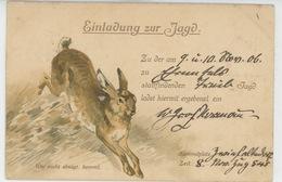 """CHASSE - RABBIT - Carte D'invitation à La Chasse Avec Lièvre """"Einladung Sur Jagd """" Postée à ZWIEFALTEN ALLEMAGNE En 1906 - Jagd"""