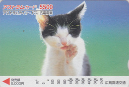 Carte Prépayée Japon - ANIMAL - CHAT 5500 - CAT Japan Prepaid Card - KATZE - GATTO - GATO - FR 4656 - Gatos
