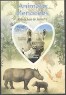 B024 PRIVATE ISSUE IMPERFORATE RESPUBLIQUE GABONAISE 2012 ANIMALS ANEMAUX MENACEES RHINOCEROS 1BL MNH - Rhinozerosse