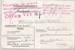 Kriegsgefangenenpost Prisonnier Belge 1942 Reçu De Colis Oflag VII B EICHSTÄTT + Censures Allemande Et U.S.A. - Documents
