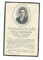 IMAGE PIEUSE..Avis De Décès MEMENTO.. Victor DEPINCE, Né Et Décédé à DUCEY (50) En 1941, à L'âge De 15 Ans - Images Religieuses