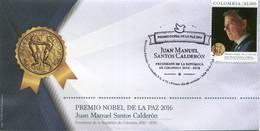 Lote 2018-12F, Colombia, 2018, SPD-FDC, Nobel Peace Prize, Nobel Peace Prize, Personality, President Of Colombia - Colombie