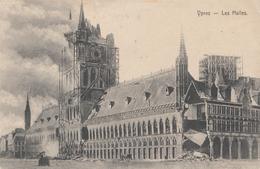 CARTE PROPAGANDE ALLEMANDE - GUERRE 14-18 - YPERN - YPRES (BELGIQUE) - LES HALLES -  DESTRUCTIONS - War 1914-18