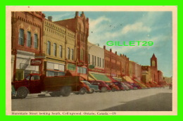 COLLINGWOOD, ONTARIO - HURONTARIO STREET LOOKING SOUTH - ANIMATED WITH OLD CARS & TRUCK - TRAVEL IN 1950 - - Ontario