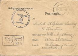 Kriegsgefangenenpost AVIS DE CAPTURE De Prisonnier Belge 1940 Stalag XI A  Altengrabow + Censures ( 2 Scans) - Documents
