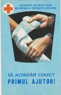 CALENDARS -ROMANIA 1980  RED CROSS- CROIX-ROUGE -first Aid (6 X 9.5 Cm) -2 Scans - Calendars