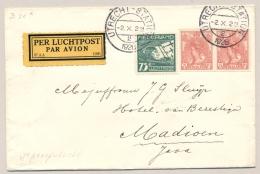Nederlands Indië - 1928 - Cover Met 2x Wilhelmina Ongetand, Met 4e KLM Proefvlucht Van Utrecht Naar Madioen - Nederlands-Indië