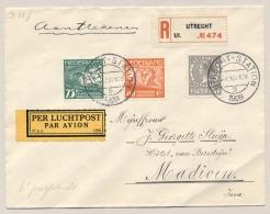 Nederlands Indië - 1928 - 27,5 Cent Veth Met Roltanding Op R-Cover Met 6e KLM Proefvlucht Van Utrecht Naar Madioen - Nederlands-Indië
