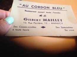 Au Cordon Bleu Restaurant Annecy Carte De Visite - Visiting Cards